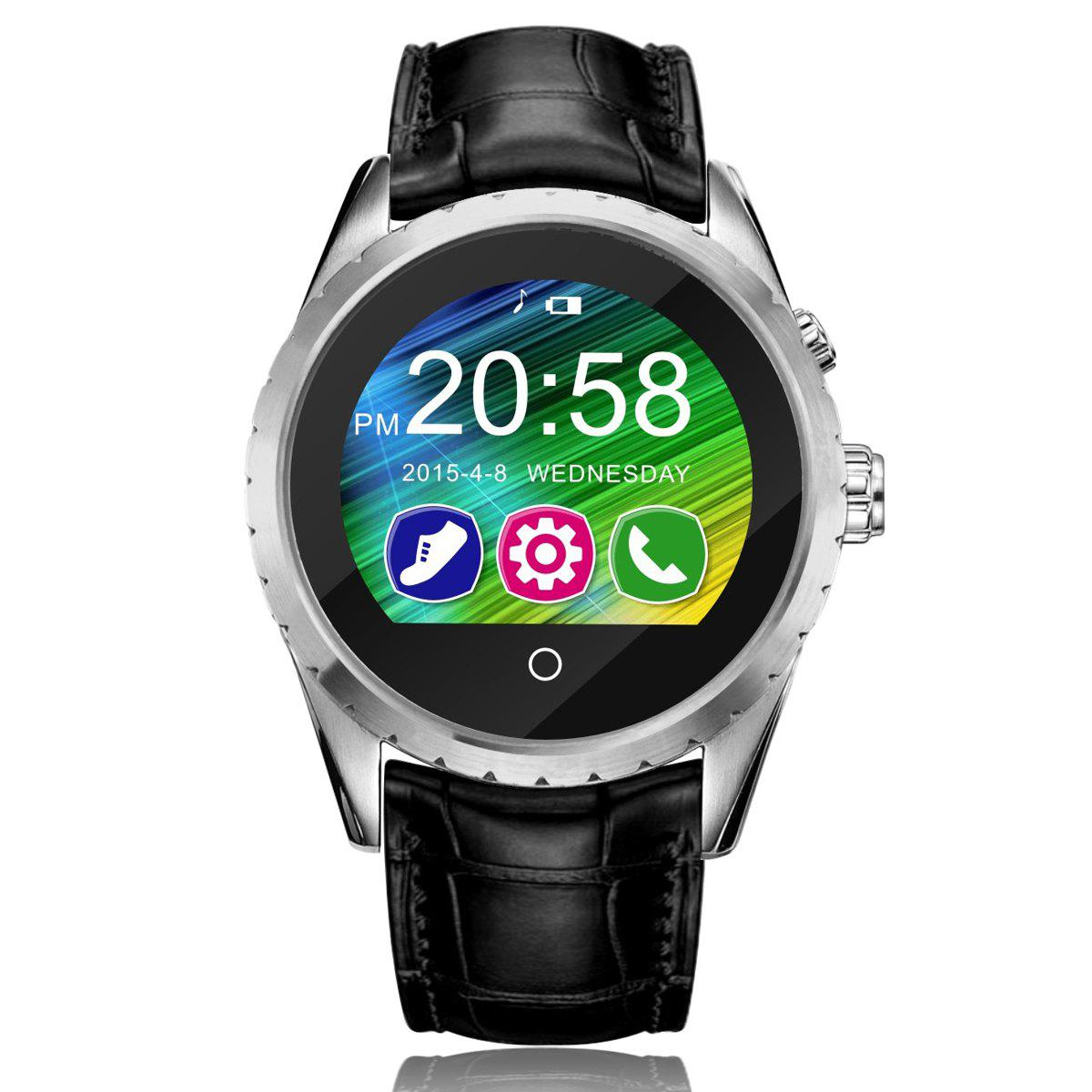 C5 Verre saphir Miroir Bluetooth 3.0 / Screen Display 4.0 montre Smart Watch IPS - Argent LEATHER BAND