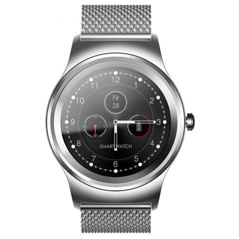 SMA - R Heart Rate Monitor Smart Watch Dual Bluetooth Wristband - SILVER STEEL BAND