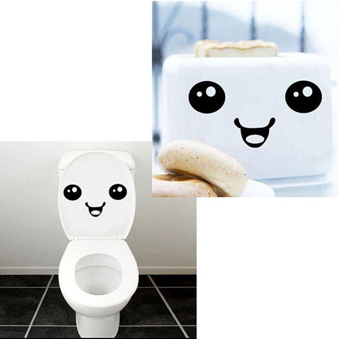 Smiley Face Pattern Toilet Lid Glass Sticker Wall Decal for Home Office