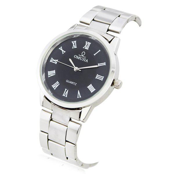 Classic OMUJIA Quartz Hours Analog Roman Numerals Hour Marks White Round Dial Design Steel Wristband Watch for Men 304 (Silver) chic bolun b636 treble clef theme dial leather wristband wrist watch with dots hour marks white