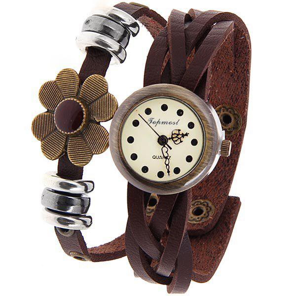 Time Z Quartz Watch with Dots Indicate Round Dial Leather Watchband for Women (Brown) - BROWN