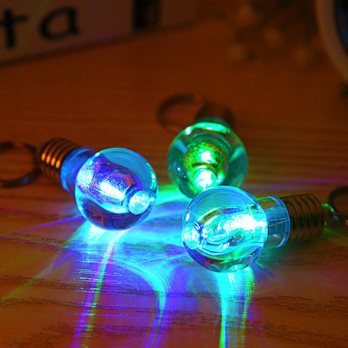 1pc Colorful LED Flashing Glass Bulb Keychain Key Ring for Decoration - COLORMIX
