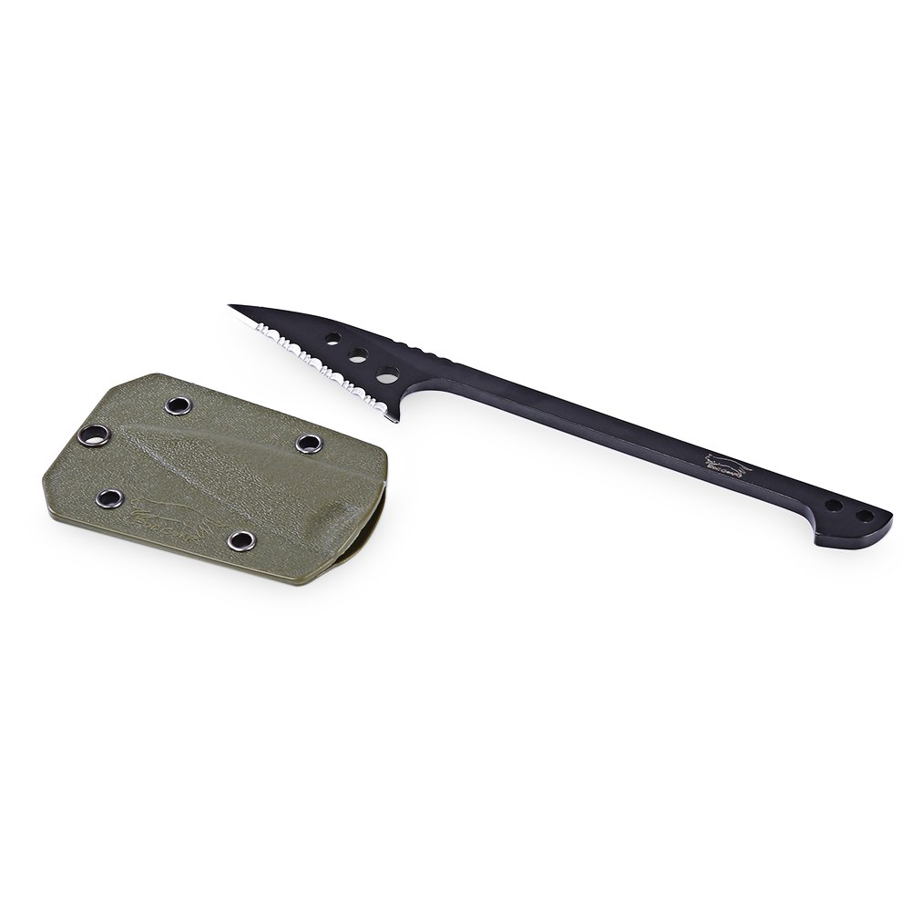EDCGEAR Outdoor Survival Fish Knife Cutting Tool with Sheath + 1.5m 9-core Parachute - ARMY GREEN SERRATED BLADE