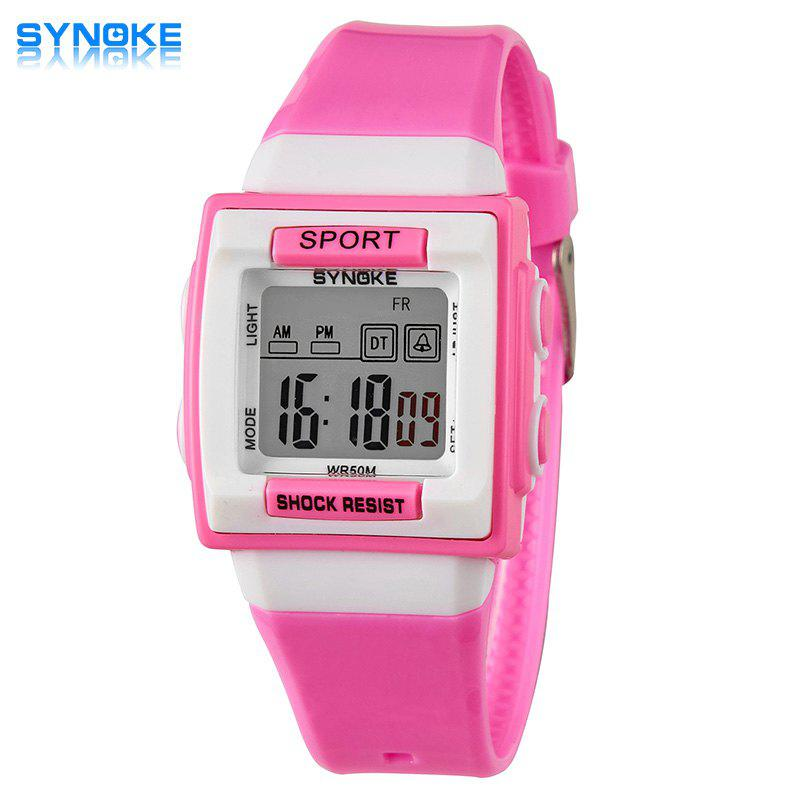Synoke Christmas Gift Children LED Watch Week Alarm Date Chronograph Wristwatch 50M Water Resistant - PINK