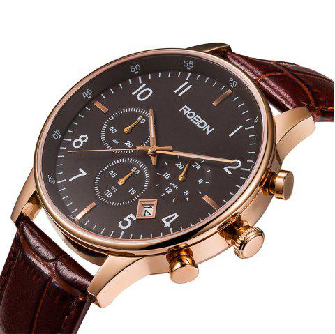 ROSDN Fashion Imported Movement Sports Quartz Watch for Men - COFFEE