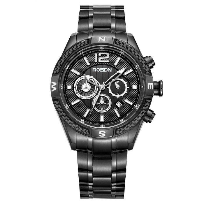 ROSDN Fashion Luminous Pointer Sports Quartz Watch for Men - BLACK STEEL BAND