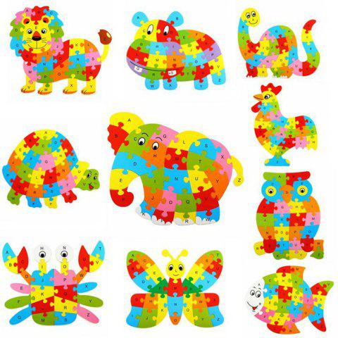 Animal Style Alphabet Wooden Puzzle Game Intelligent Toy - 4pcs / set - COLORMIX