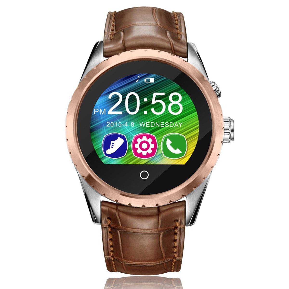 C5 Verre saphir Miroir Bluetooth 3.0 / Screen Display 4.0 montre Smart Watch IPS - Or Rose LEATHER BAND