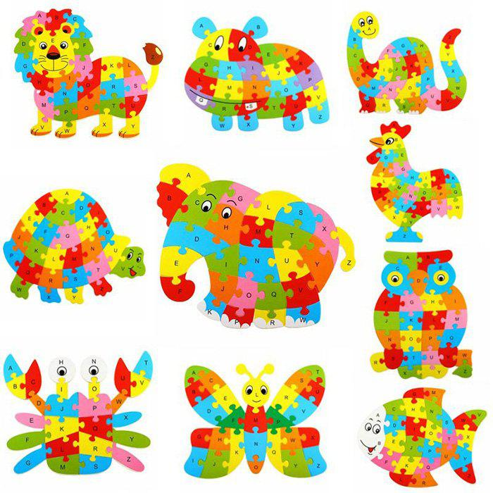 Animal Style Alphabet Wooden Puzzle Game Intelligent Toy - 4pcs / set 100% new and original g6i d22a ls lg plc input module
