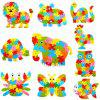 Style de Alphabet des animaux en bois Puzzle Game Toy intelligente - 4pcs / set - multicolorcolore