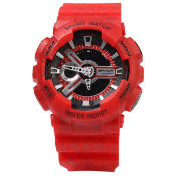 Sanda 299 LED Montre de Sports Imperméable Multifunctional - Rouge