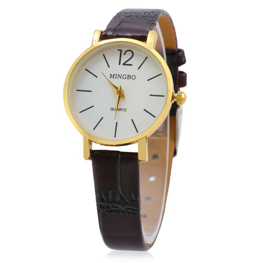 MINGBO 6008 Casual Small Size Dial Life Water-resistant Quartz Watch for Lady - BROWN
