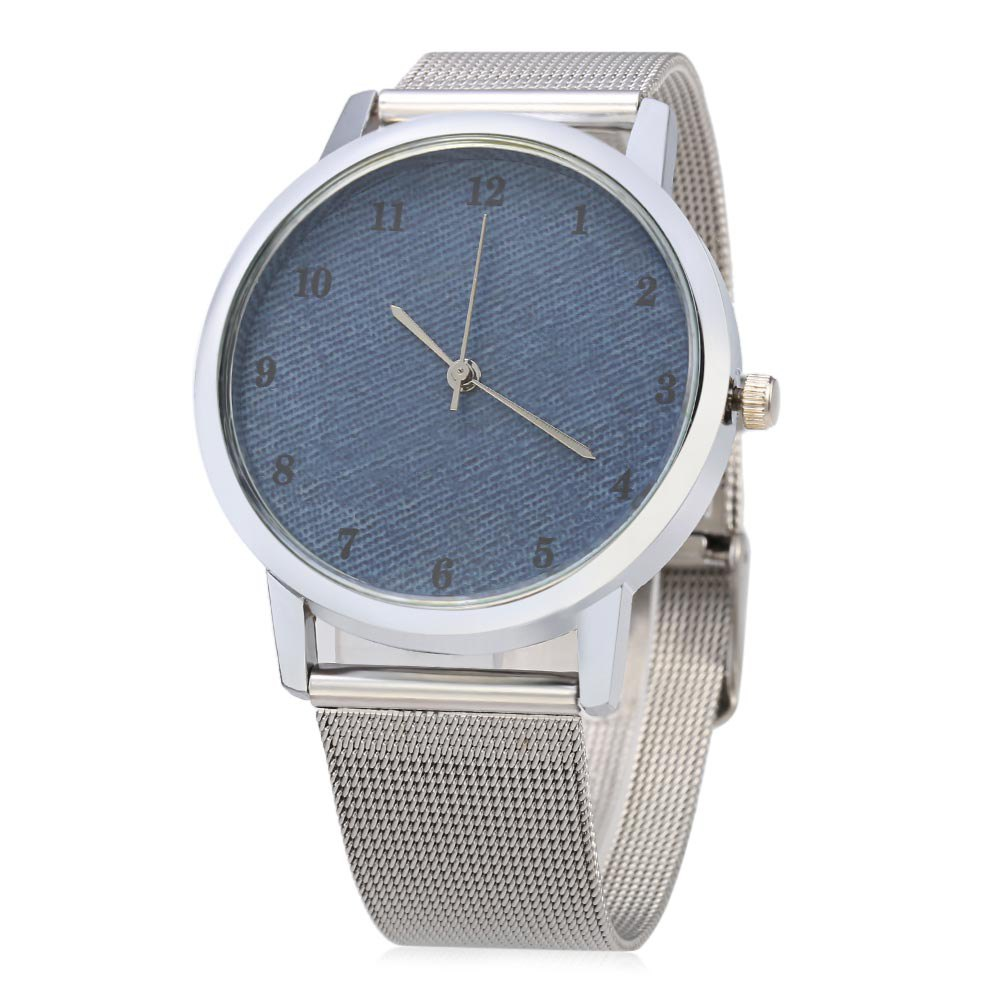Casual 001 Quartz Watch Steel Band Pure Color Surface Dial for Female - BLUE