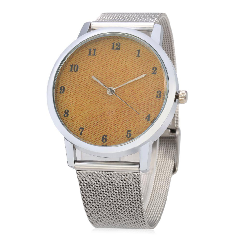 Casual 001 Quartz Watch Steel Band Pure Color Surface Dial for Female, Sweet orange