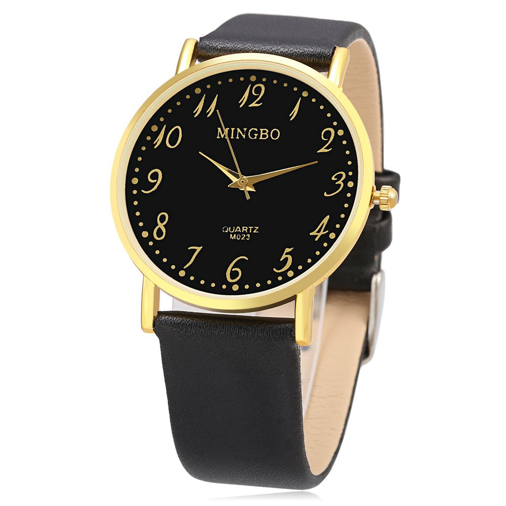 MINGBO M023 Number Scale Casual Quartz Watch for Men - BLACK