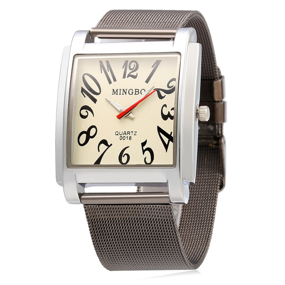 MINGBO 0018 Fashion Male Quartz Watch with Number Scale - BLACK