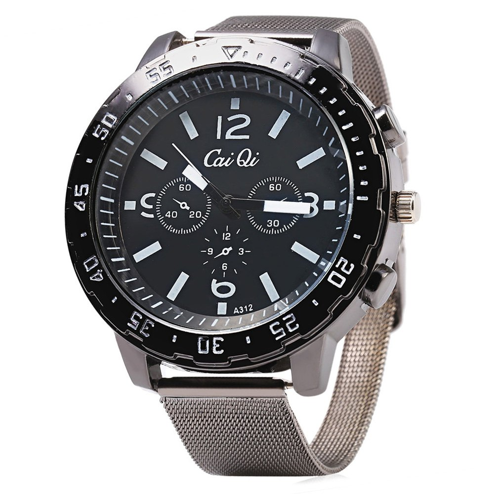 CaiQi A312 Casual Quartz Watch with Multiple Scales for Men - BLACK
