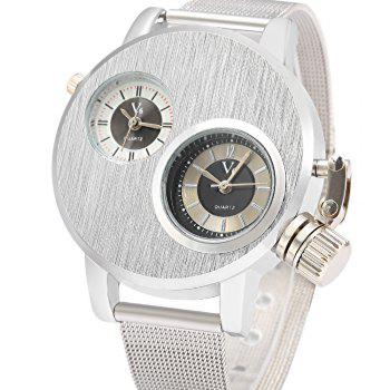 V6 6007 Casual Style Double Movt Male Quartz Watch - SILVER
