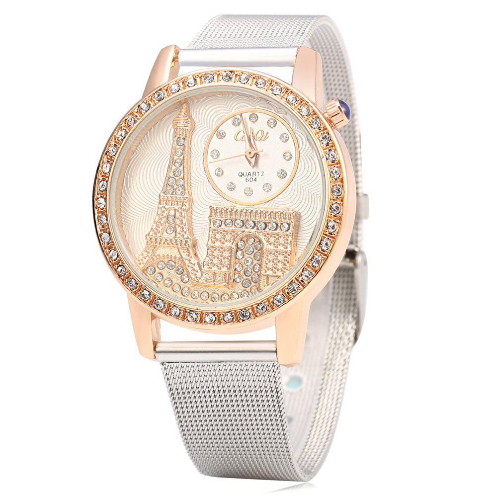 CaiQi 604 Fashion Female Quartz Watch with Iron Tower Emboss Dial