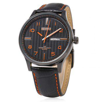 EYKI 1028 Casual Stripe Pattern Male Quartz Watch with Dual Calendar