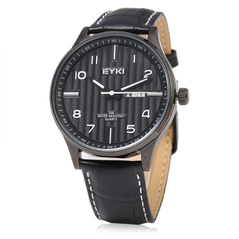 EYKI 1028 Casual Stripe Pattern Male Quartz Watch with Dual Calendar - BLACK