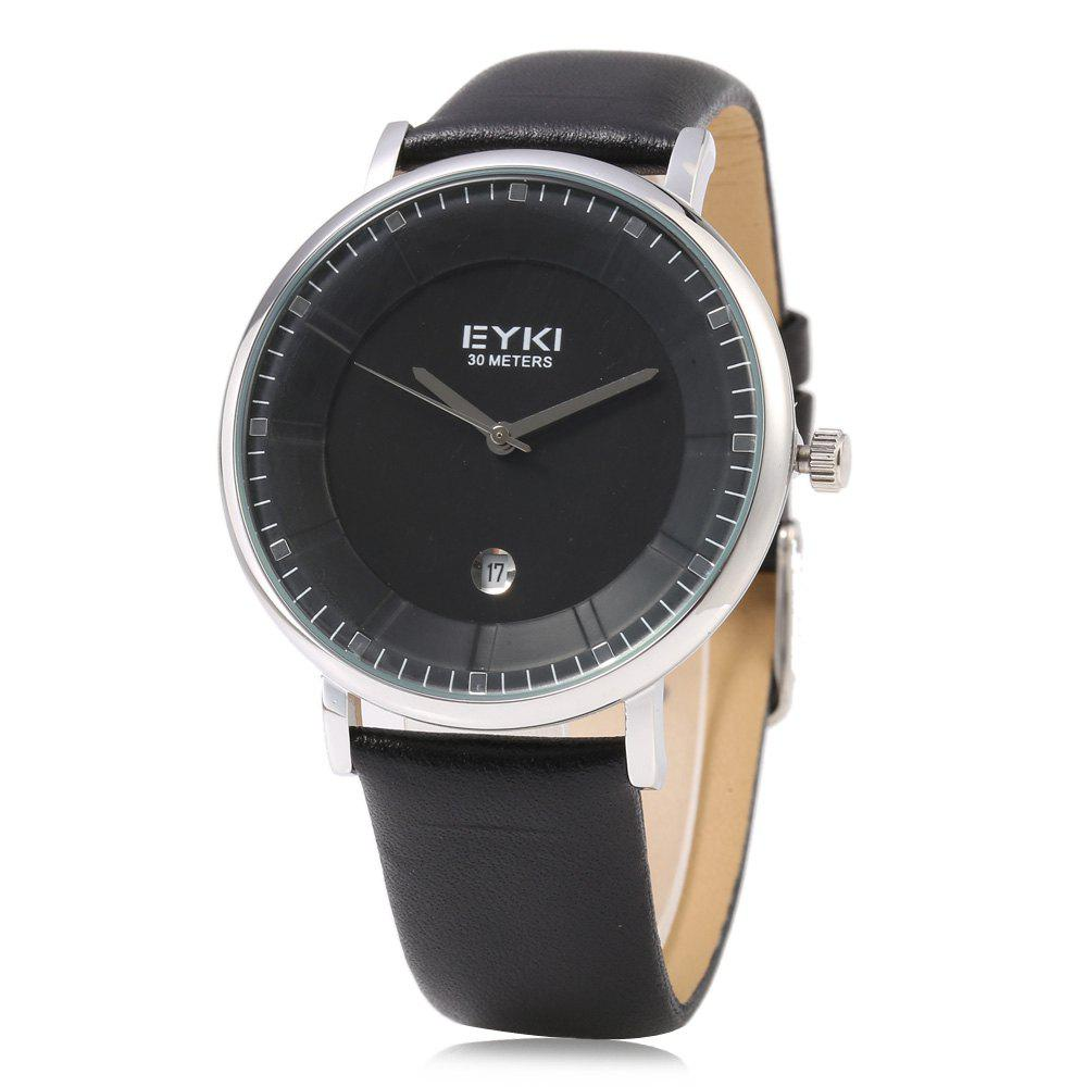 EYKI 1029 Casual Stereo Dial Male Quartz Watch with Date Display - BLACK