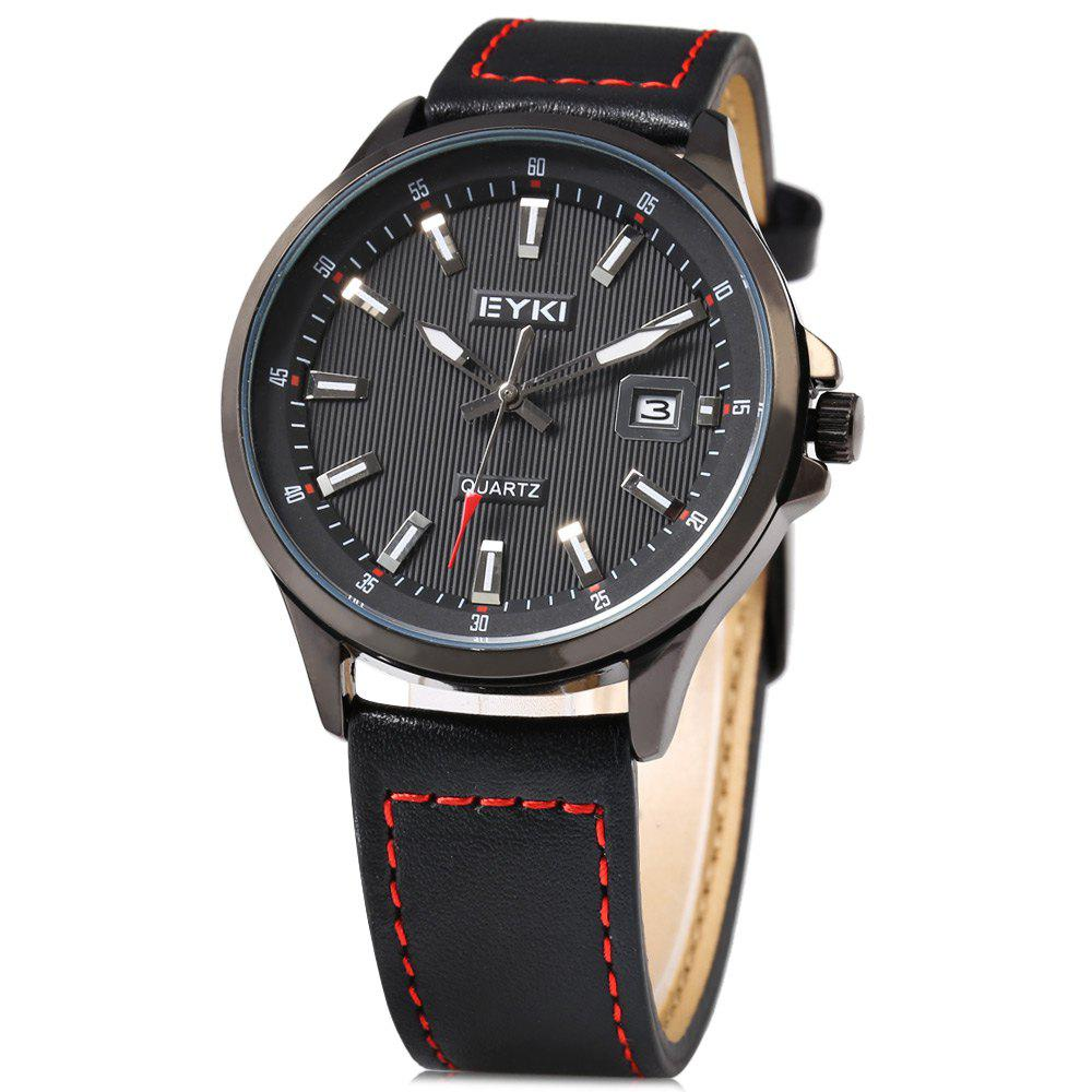 EYKI 1050 Casual Male Quartz Watch with Hollow-out Pointer - BLACK
