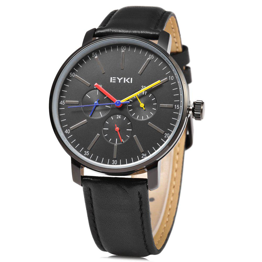 EYKI 1046 Casual Male Quartz Watch with Working Sub-dial - BLACK