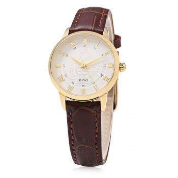 EYKI 1032S Casual Sailing Ship Emboss Female Quartz Watch with 3ATM Waterproof Grade