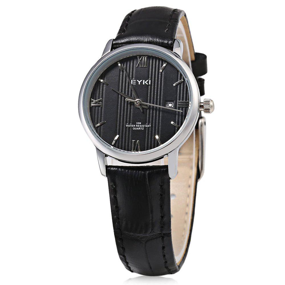 EYKI 1002S Casual Mixed Scale Quartz Watch with Stripe Pattern for Women - BLACK