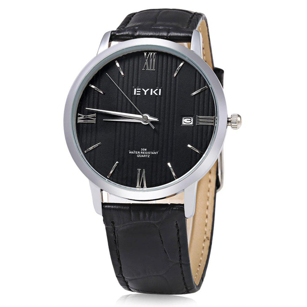 EYKI 1002L Casual Mixed Scale Quartz Watch with Stripe Pattern for Men - BLACK