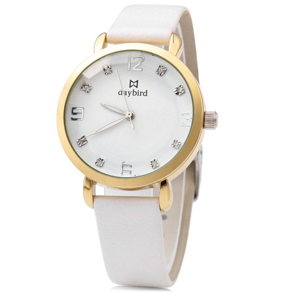 daybird 3800 Casual Female Quartz Watch with Dodecagon Mirror - WHITE