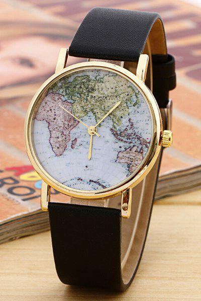 Chic World Map Pattern Watch For Women, Black