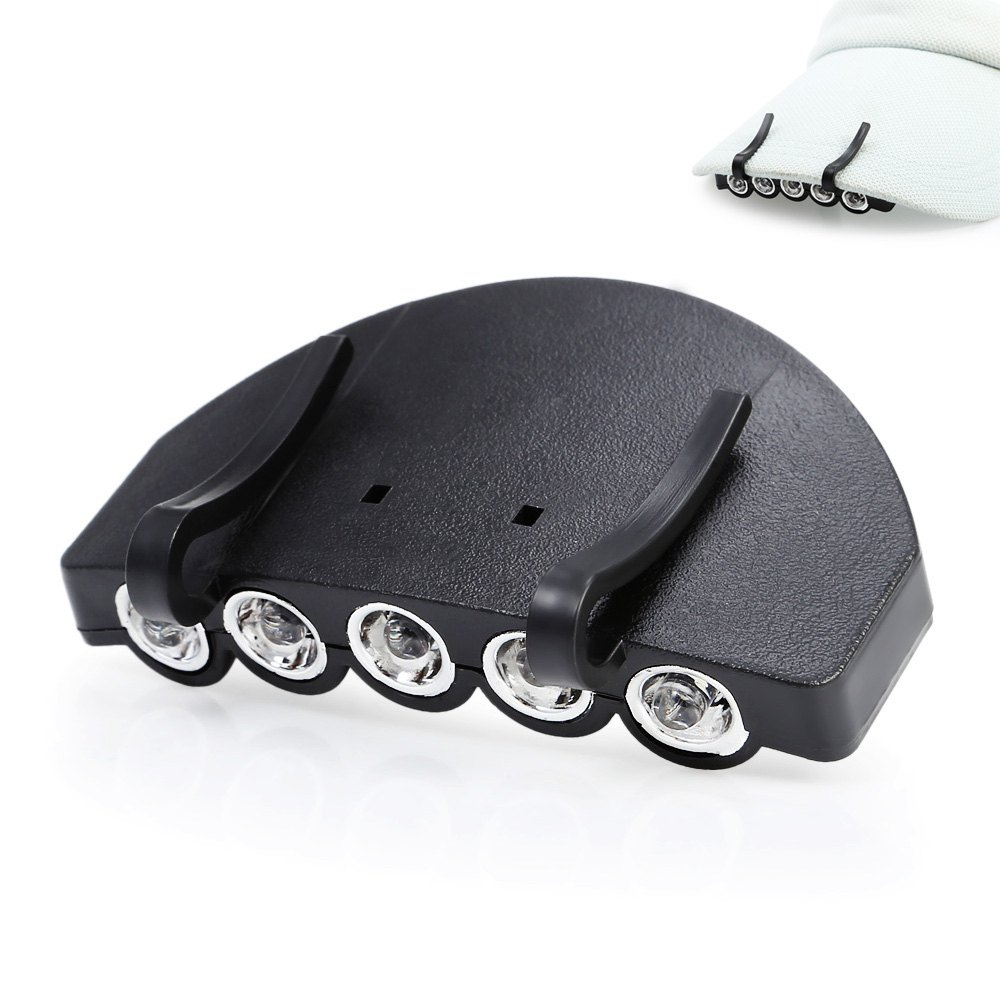 5 LEDs 60LM Clip Hat Light Fishing Lamp with 2 ModesHome<br><br><br>Color: BLACK