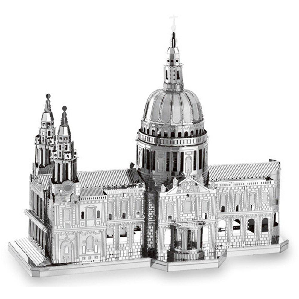 ZOYO 3D Metal Church Style Metallic Building Puzzle Educational Assembling ToyHome<br><br><br>Color: SILVER