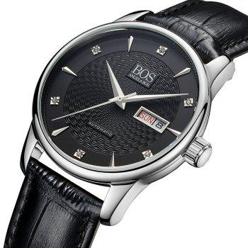 Buy BOS 9016G Sapphire Crystal Mirror Imported Movement Male Automatic Mechanical Watch BLACK