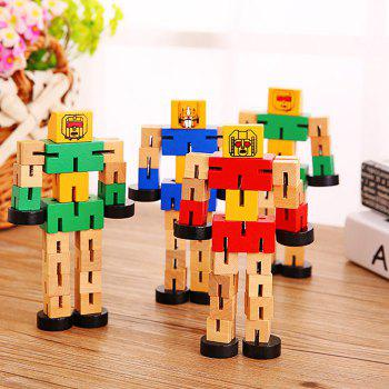 Wood Changeable Cartoon Figure Building Block Robot Car Intelligence Toy for Kid