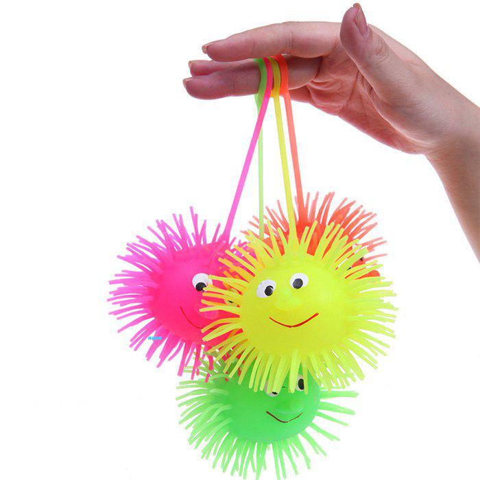 1pc Creative Flash LED Light Up Smile Face Squeeze Hedgehog Ball Toy for Kid