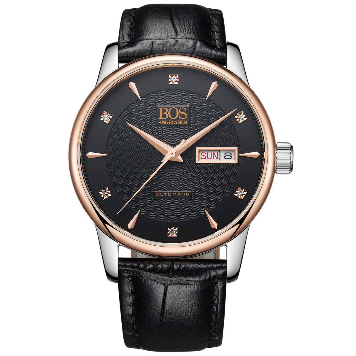 Buy BOS 9016G Sapphire Crystal Mirror Imported Movement Male Automatic Mechanical Watch BLACK/ROSE GOLD