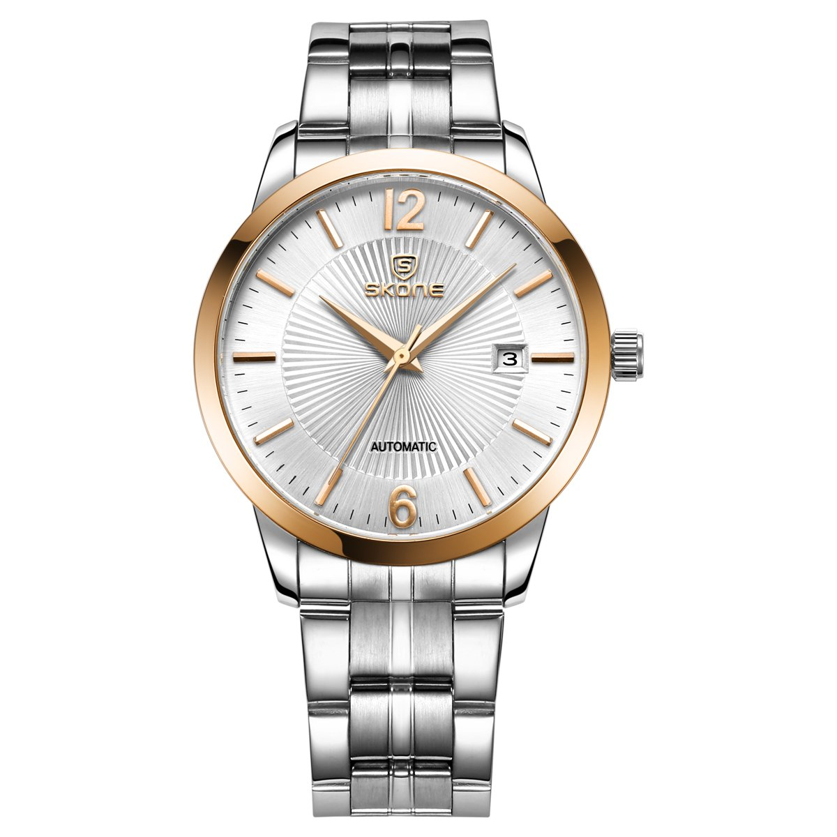 SKONE 1091 Business Male Automatic Mechanical Watch with Calendar - ROSE GOLD