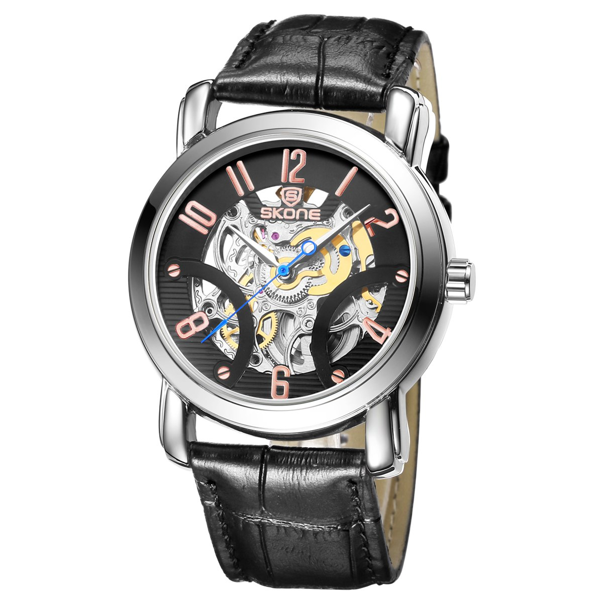 SKONE 1088 Hollow-out Dial Business Male Automatic Mechanical Watch - BLACK