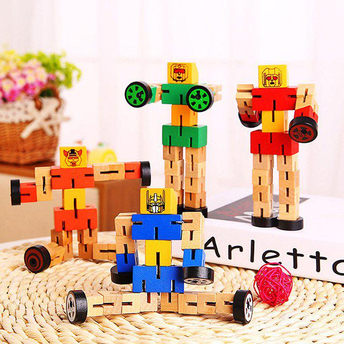 Wood Changeable Cartoon Figure Building Block Robot Car Intelligence Toy for Kid - COLORMIX