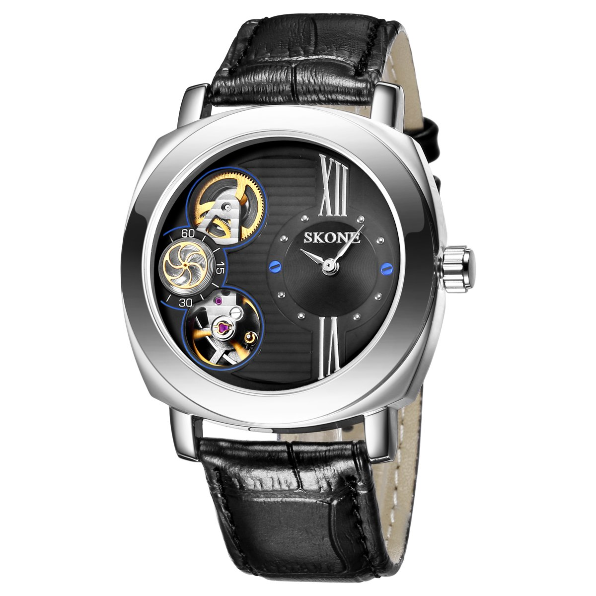 SKONE 1094 Classic Dual Movements Men Watch with Working Sub-dial - BLACK