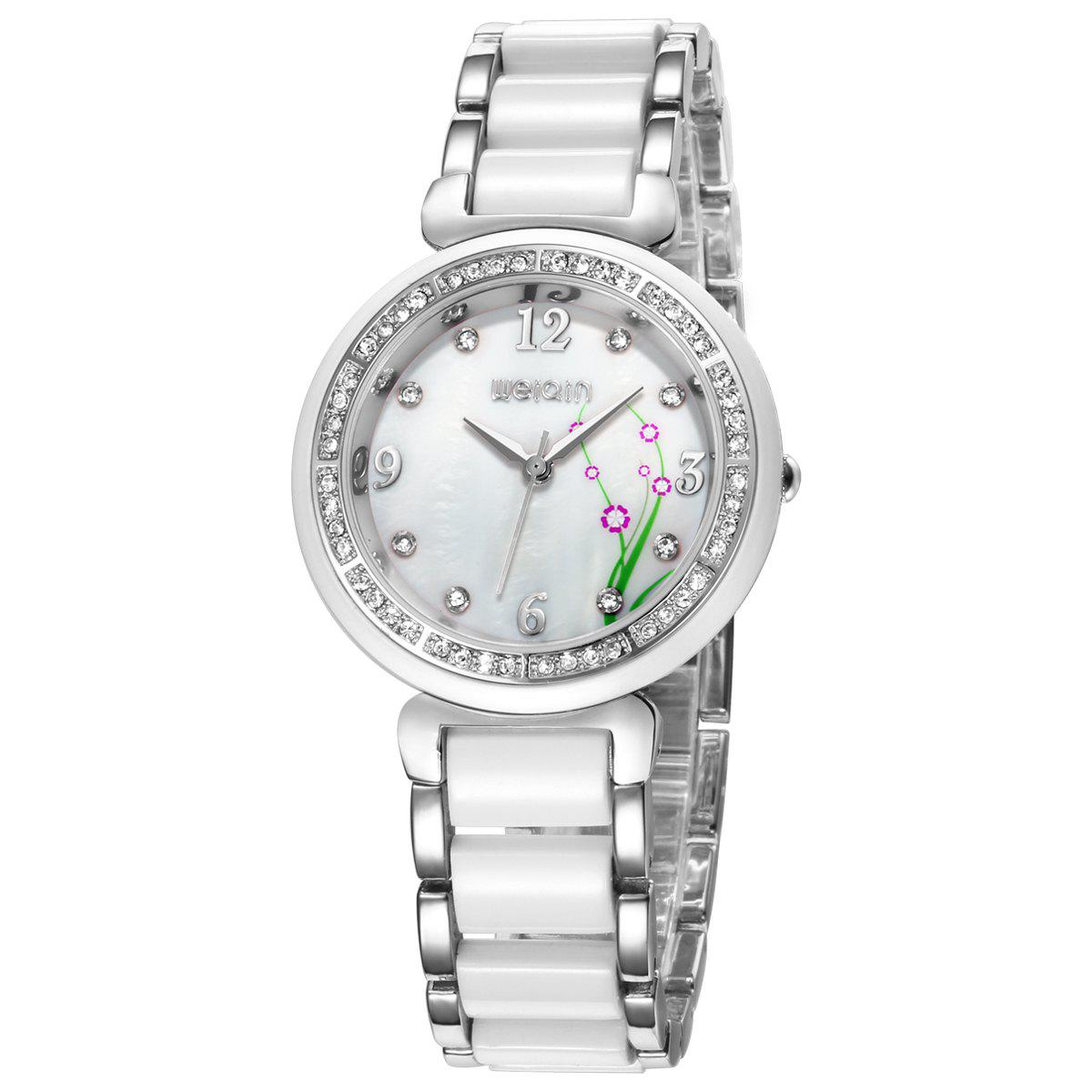 WeiQin 1096 Fashion Rhinestone Scale Quartz Watch for Female - SILVER
