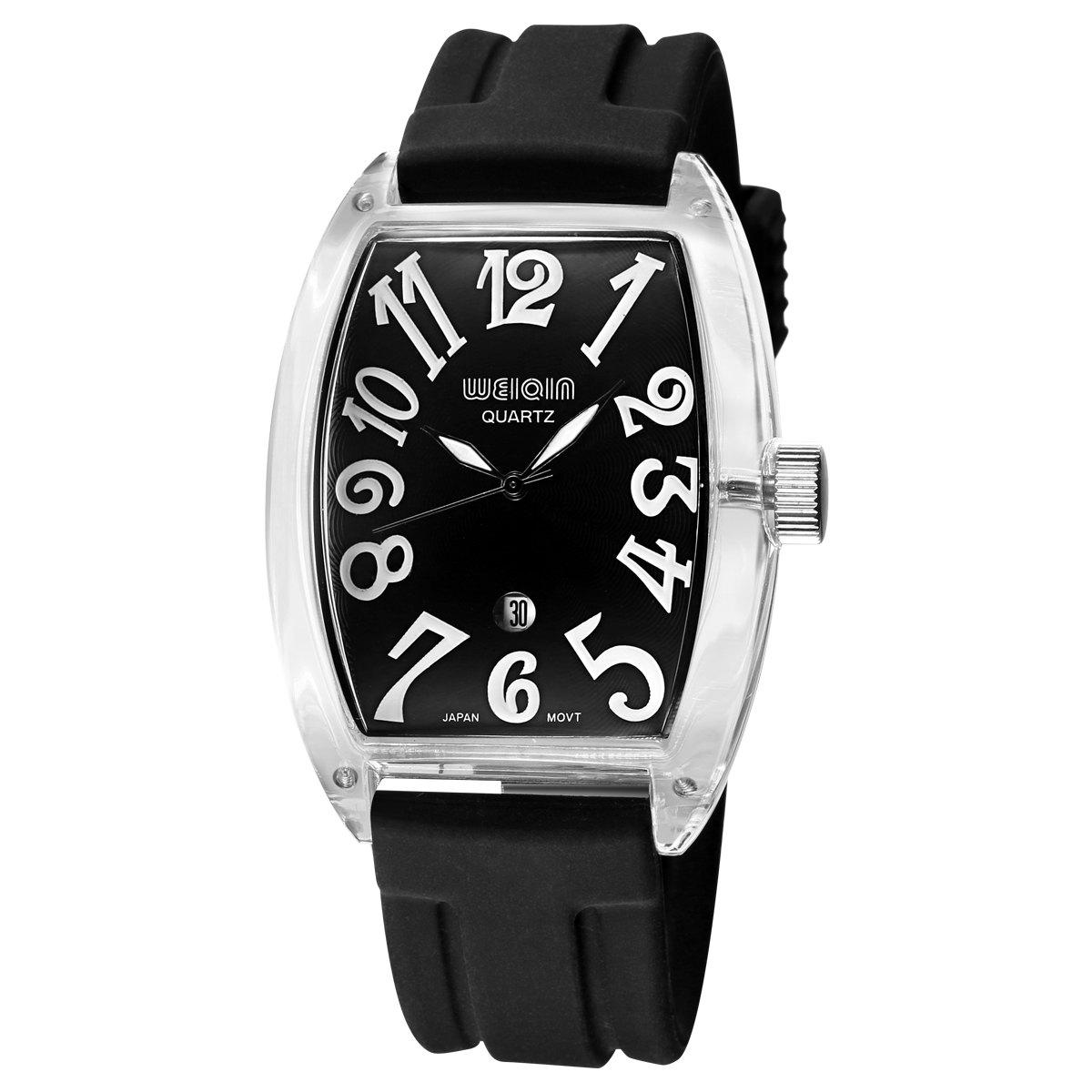 WeiQin 1097 Casual Barrel Shaped Dial Men Quartz Watch - BLACK