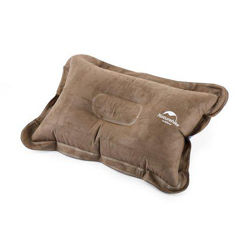 NatureHike Air Inflation Suede Fabric Pillow for Outdoor Camping Travelling Home Use - BROWN
