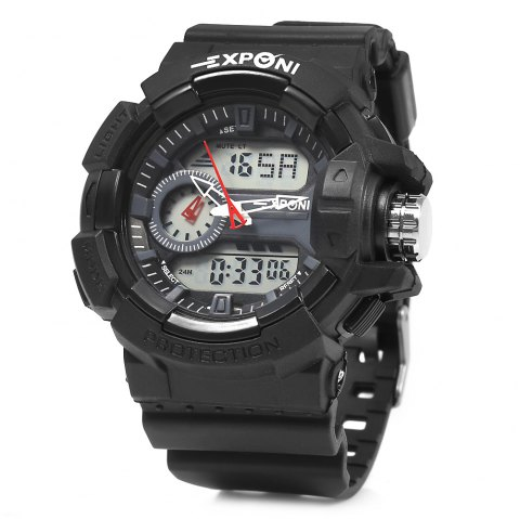 EXPONI 3227 Imported Movement Outdoor Sports Digital Quartz Watch - BLACK