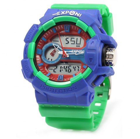 EXPONI 3227 Imported Movement Outdoor Sports Digital Quartz Watch - GREEN