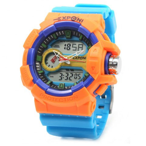 EXPONI 3227 Imported Movement Outdoor Sports Digital Quartz Watch - BLUE