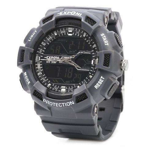 EXPONI 3230 Imported Movement Outdoor Sports Digital Quartz Watch - GRAY